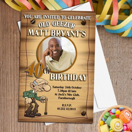 10 Personalised Old Geezer Birthday Party PHOTO Invitations N148